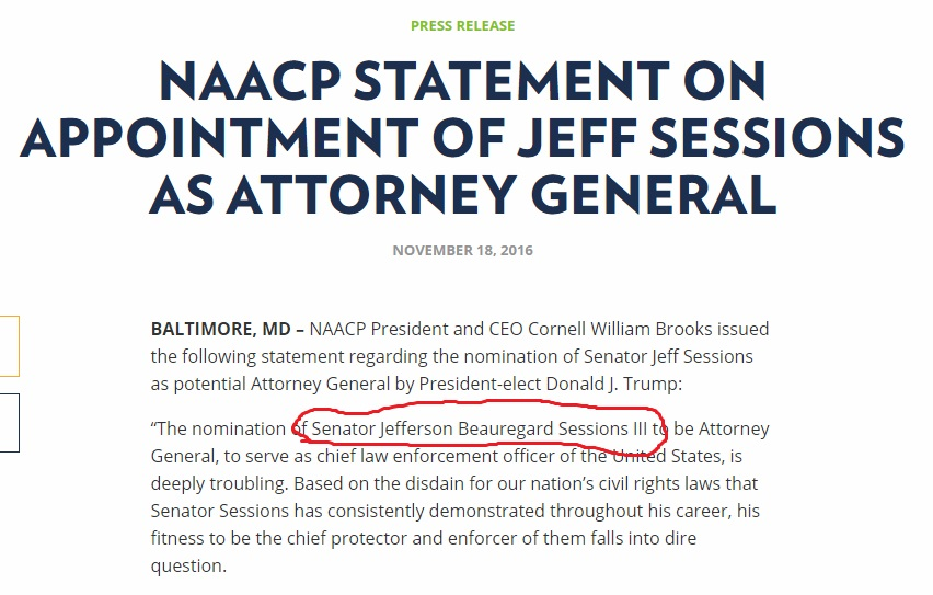 "Screenshot of NAACP Press Release with title, ""NAACP Statement of Appointment of Jeff Sessions as Attorney General."""