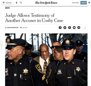 "Headline from the New York Times stating: ""Judge Allows Testimony of Another Accuser in Cosby Case."""