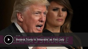 "Image of Trump with Melania in the background and the headline, ""Melania Trump is 'Miserable as First Lady."""