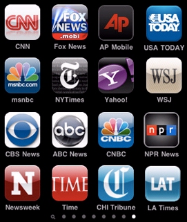 A screenshot of sixteen smartphone news apps.