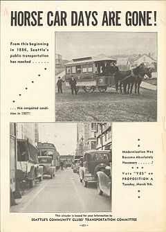 "Seattle transportation ballot measure campaign literature from 1937 with headline stating ""Horse Car Days are Gone!"""