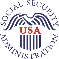 Social Security Administration seal. Image of a bird with open wings and USA written in red in the center.