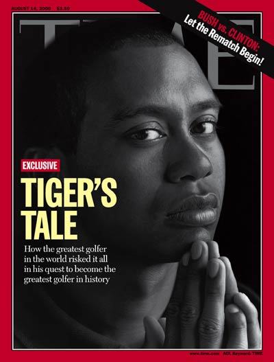 "Tiger Woods on the cover of Time magazine with the headline, ""Tiger's Tale."""