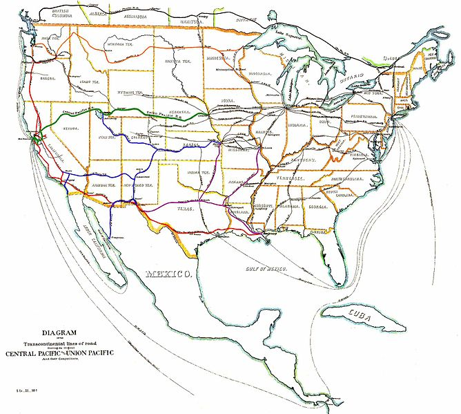 Map of the US transcontinental railroads from 1887 using a series of colors to designate these railroads on the map.