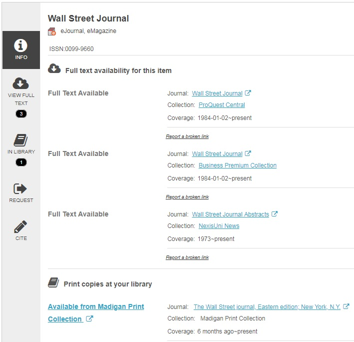 Journal Locator example search looking at detailed information