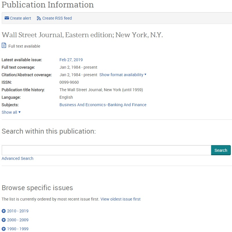 Example publication information page in a ProQuest database