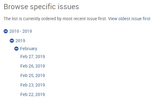 example of browsing by issue date