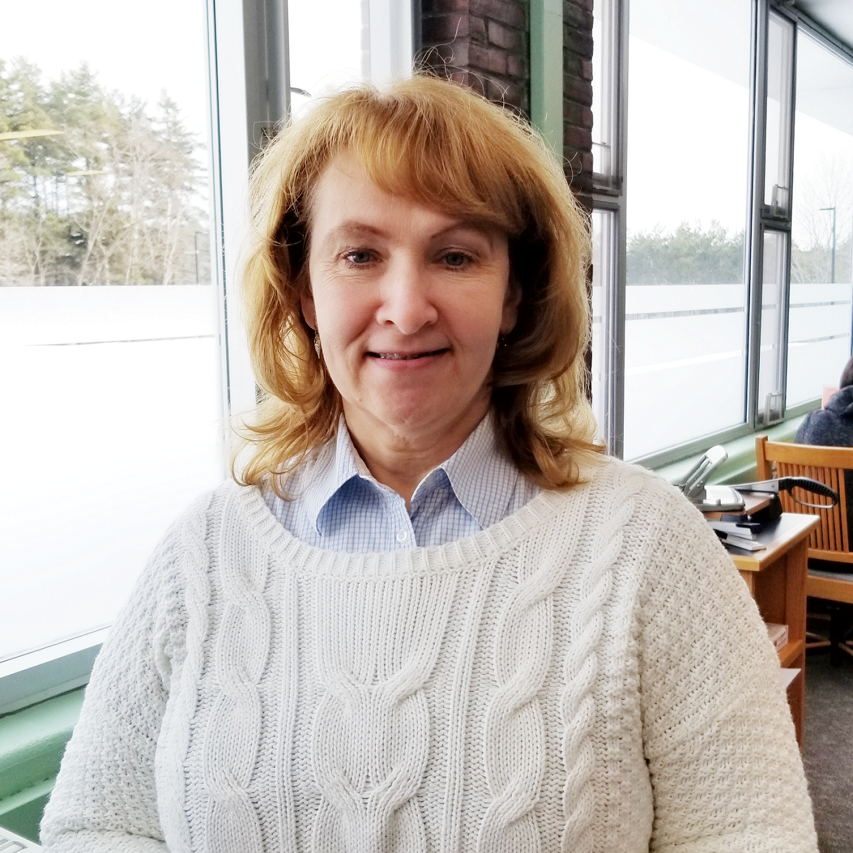 Halene Bickford in front of Learning Commons Windows