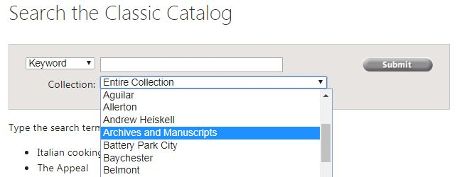 Basic search bar with Archives and Manuscripts highlighted