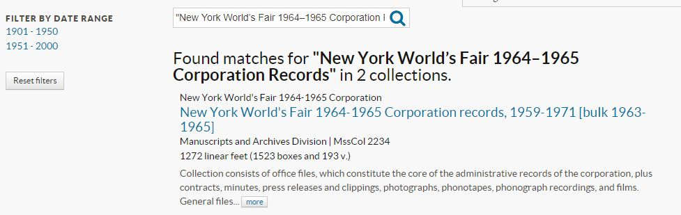 "Results page for ""New York World's Fair 1964-1965 Corporation records"" search"