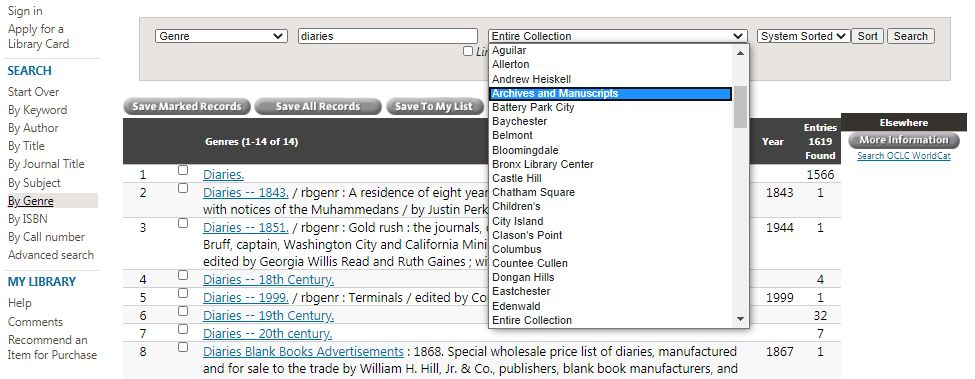 Sample genre search in the Research Catalog