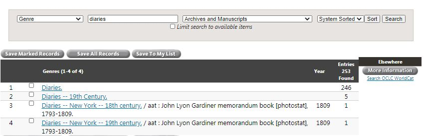 Catalog genre terms browse list limiting to Archives and Manuscripts
