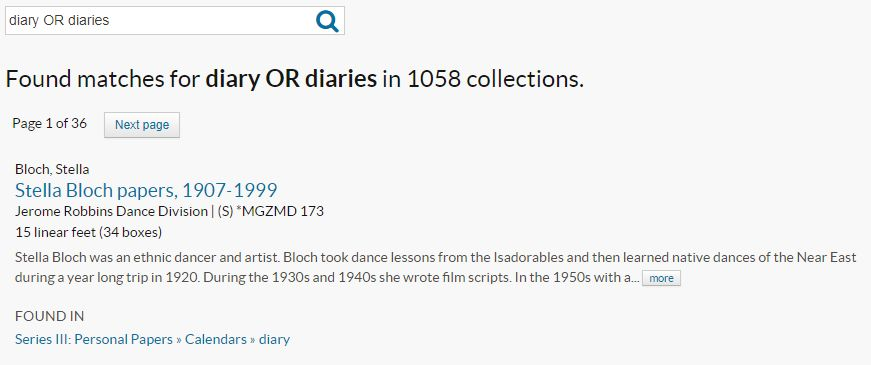 Archives Portal search result for diary OR diaries