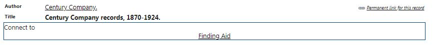 Example of link to finding aid in a catalog record
