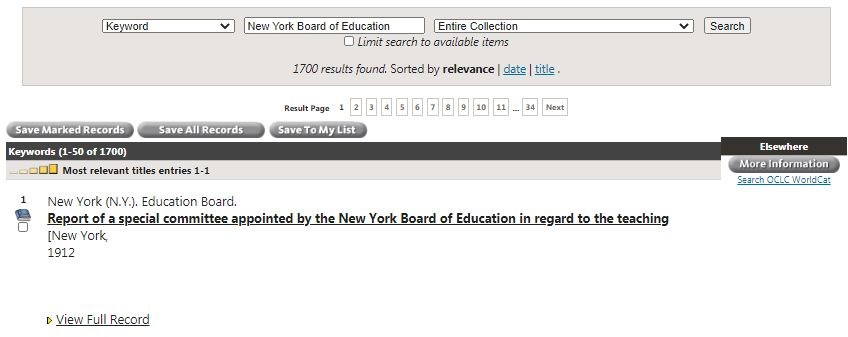 Keyword search for New York Board of Education