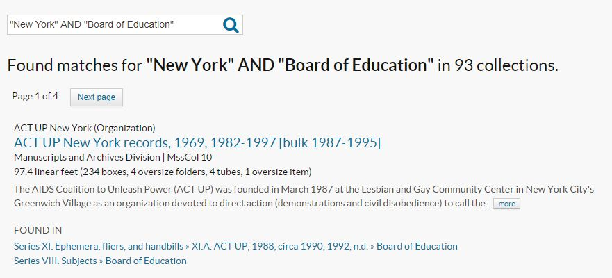"Archives Portal search results for ""New York"" AND ""Board of Education"""
