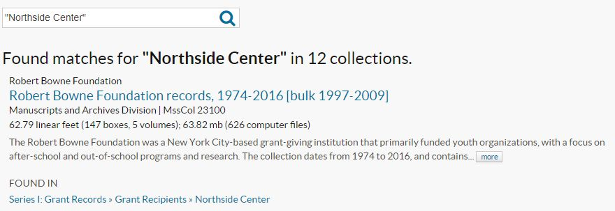 "Archives Portal search results for ""Northside Center"""