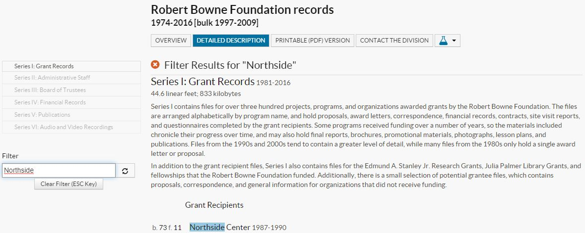 Robert Bowne Foundation portal record highlighting Northside Center