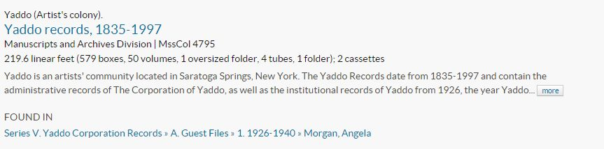 Yaddo records search results entry