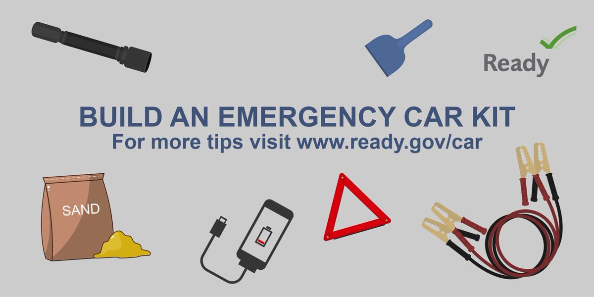 Build an Emergency Car Kit. For more tips visit www.ready.gov/car