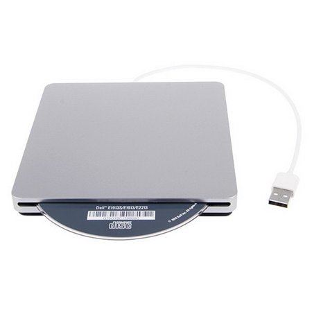 Photo of external CD/DVD disc reader for Mac systems that is available for checkout. Information about equipment follows the image.