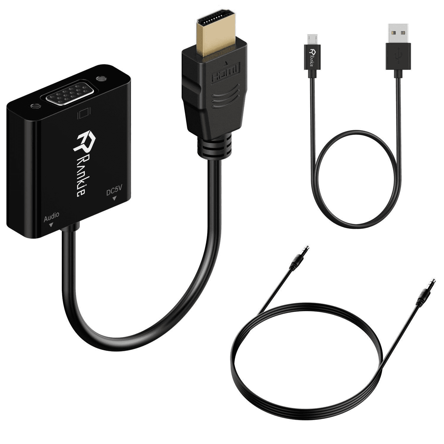 Photo of VGA to HDMI adaptor, including a 3.5mm audio cable and USB to mini USB cable