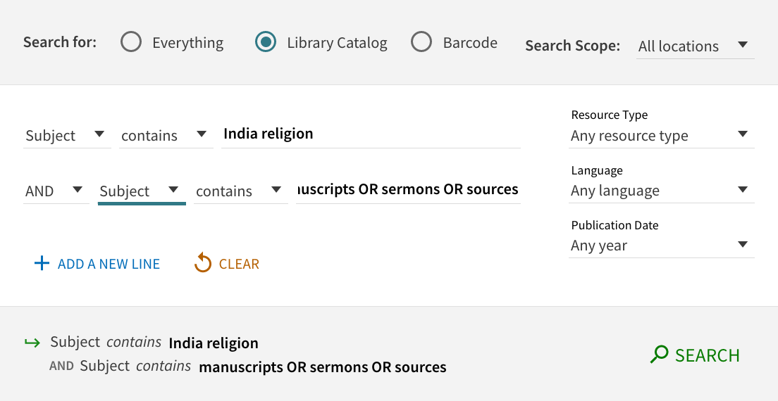 search for India religion and manuscripts, sermons, or sources, as subjects