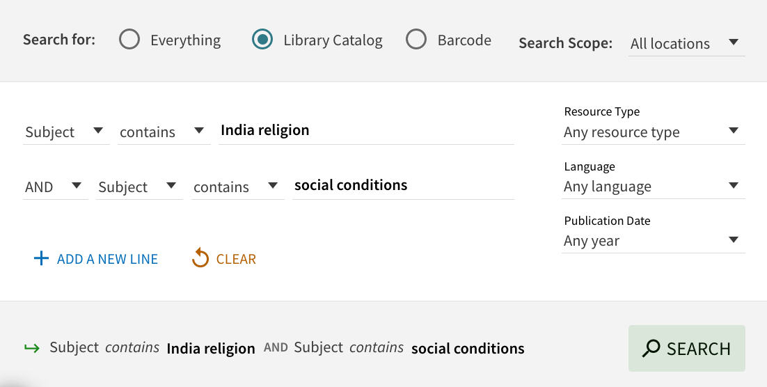search for india religion and social conditions as subjects