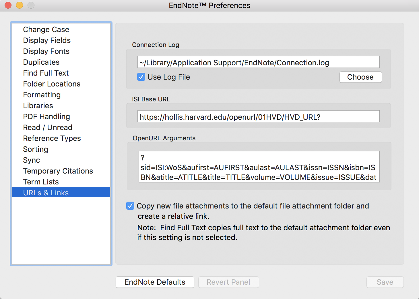 EndNote Preferences Window