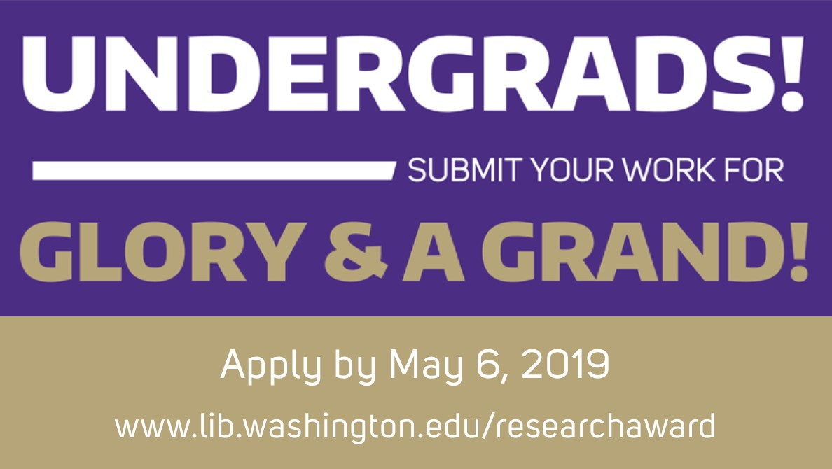 Apply for the Library Research Award For Undergraduates. Deadline May 6, 2019