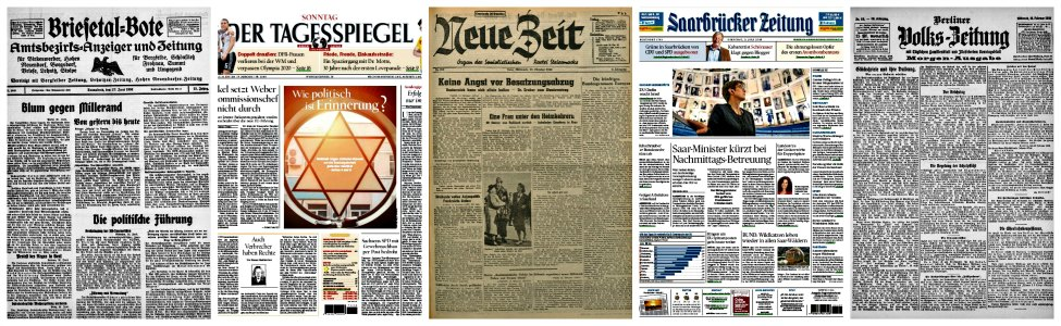 Examples of German newspaper front pages