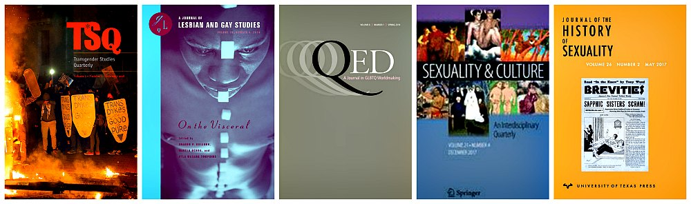 Sample journals: TSQ: Transgender Studies Quarterly, GLQ: A Journal of Lesbian and Gay Studies, QED: A Journal in GLBTQ Worldmaking, Sexuality and Culture and Journal of the HIstory of Sexuality
