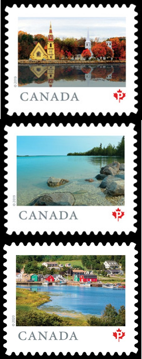 decorative image of postage stamps showing various Canadian locales