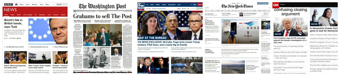News banner: BBC, Washington Post, Fox News, NY Times & CNN