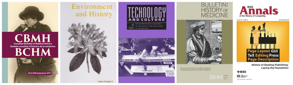 Sample journals: Canadian Bulletin of Medical History, Environment and History, Technology & Culture, Bulletin of the History of Medicine and IEEE Annals of the History of Computing