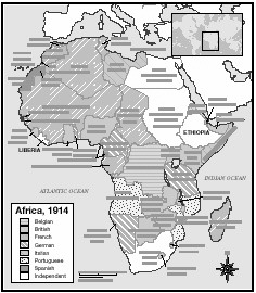 colonized Africa 1914