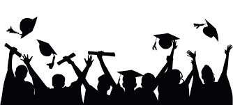 black and white graphic of graduates and hats in silohuette