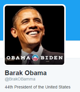 Barack Obama twitter 2 image with black background and Obama Biden written at bottom of timage
