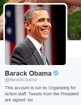 Barack Obama twitter 1 image with american flag in background