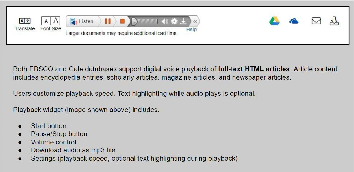 Screenshot of digital voice playback widget for HTML full text article inside an EBSCO database.