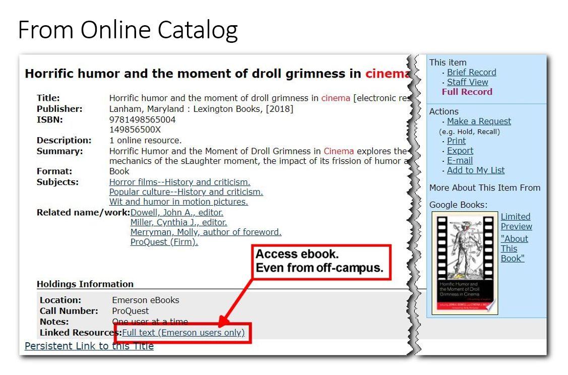 Screenshot of ebook in online catalog, with link to Full Text Emerson Holdings highlighted.