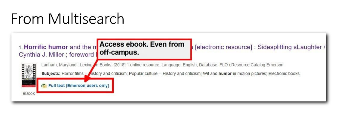 Screenshot of ebook in Multisearch, highlighting Full Text Emerson Users link.