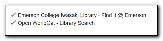 Screenshot of Iwasaki Library institutional collection checked off.