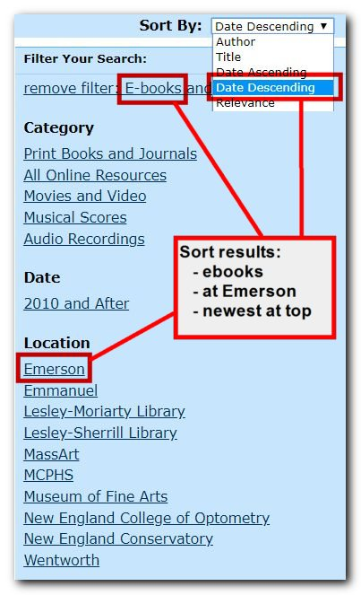 Screenshot of FLO online catalog search filters, including options for ebooks, Emerson holdings, and Sort Results by Date Descending.