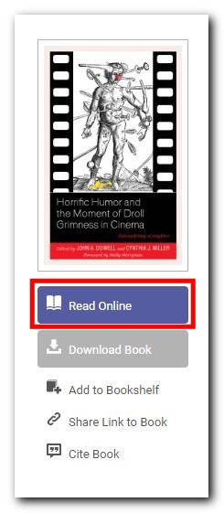 Screenshot of ebook highlighting button for reading online, as well as auto-format citation and stable URL.
