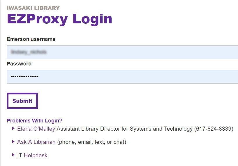 Screenshot of EZProxy login requiring current Emerson email credentials and password, domain not required.