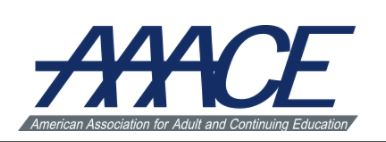 AAACE Logo--Text is navy blue.