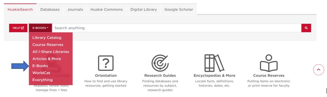 Screenshot of search box and a red drop down menu, with attention directed toward EBOOKS using a small blue arrow.