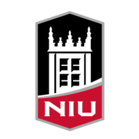Lozenge-shaped black white and red NIU logo with image of Altgeld tower.