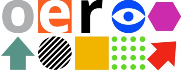 Graphic shapes in assorted colors and the letters OER.